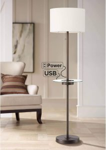 Caper Modern Floor Lamp with Table USB and AC Power Outlet in Base Bronze Metal Off White Fabric Drum Shade for Living Room Reading Bedroom Office