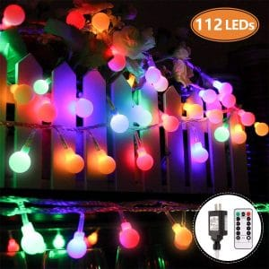 MIBOTE Globe String Lights, 55ft 112 LEDs Colored Fairy Lights Waterproof UL Listed Plug in String Lights for Outdoor Indoor Bedroom Patio Garden Party