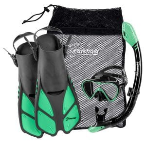 Seavenger Adult and Junior Diving Snorkel Set- Dry Top Snorkel:Trek Fin:Single Len Mask:Gear Bag- Blue:red:Yellow:Black:bs