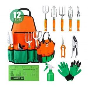 UKOKE 12 Piece Garden Tool Set Hand Tool Kit