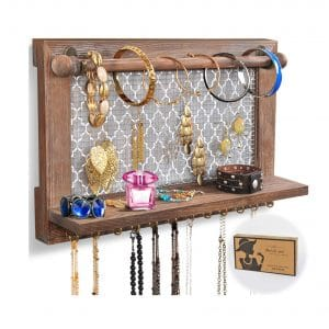 ASHLEYRIVER Wall Mounted Rustic Wood Jewelry Organizer
