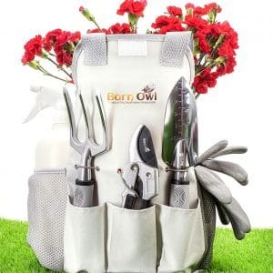Barn Owl 9 Piece Stainless Steel Garden Tools with Storage Tote Bag