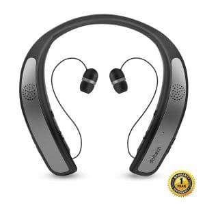 Bluetooth Headphones Speaker 2 in 1,DolTech Wireless Headphones Neckband Wearable Speaker Retractable Earbuds 3D Stereo Sound Sweatproof Headset with Mic