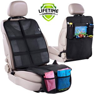 3 Organizer Pockets Backseat Child Kick Guard Seat Saver kick mats seat protector X-Large Car Back Seat Protectors Lebogner Kick Mat Auto Seat Back Protectors 2 Pack Waterproof Fabric Seat Cover For The Back Of Your Seat