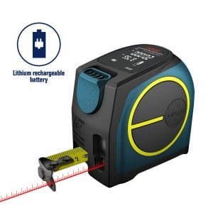 Laser Tape Measure 2-in-1,laser measurement 131Ft silent laser range finder USB rechargeable color LCD display, measuring distance, IP54 waterproof standard,