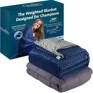 """Quility Premium Adult Weighted Blanket & Removable Cover - 20 lbs - 60""""x80"""" - for Individual Between 190-240 lbs - Full Size Bed - Premium Glass Beads - Cotton Minky"""