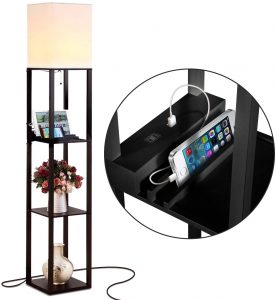 Brightech Maxwell Charger - Shelf Floor Lamp with USB Charging Ports & Electric Outlet - Tall & Narrow Tower Nightstand for Bedroom - Modern, Asian End Table with Light Attached