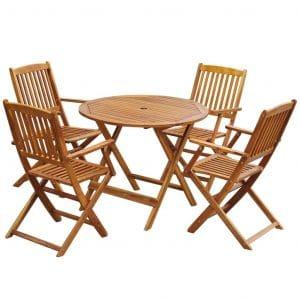 Festnight 5 Piece Outdoor Dining Set - Space Saving Design