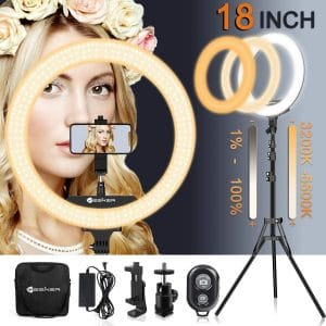 Yesker 18 Inches Ring Light with Tripod Stand 3200K to 5500K Light
