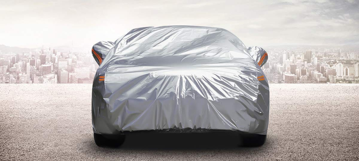 GUNHYI Outdoor Car Covers for Automobiles Waterproof All Weather Universal Fit Sedan 6 Layer Heavy Duty Cover Sun Uv Protection Length 165-175 inch