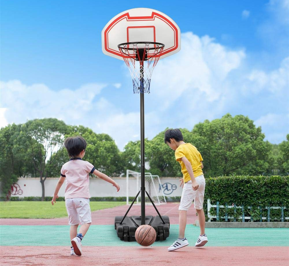 Portable Basketball Hoop System Stand Indoor Outdoor with Adjustable Height Backboard and Wheels
