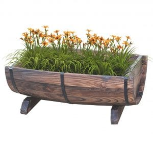 Gardenised Vintiquewise Barrel Deck Railing Planter
