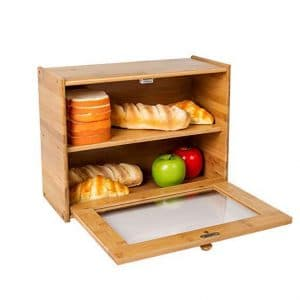 INDRESSME Bamboo 2-Layer Large Capacity Bread Box