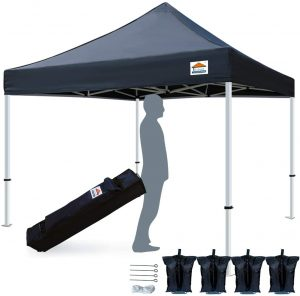 TISTENT 10'x10' Ez Pop Up Canopy Tent Commercial Instant Shelter with Heavy Duty Carrying Bag, 4 Canopy Sand Bags Black