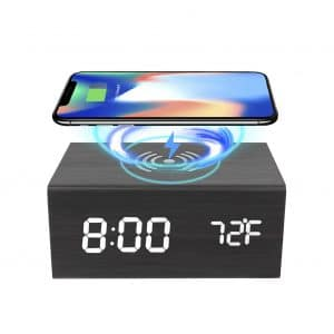 MOCRAFT Wooden Digital Alarm Clock with Wireless Charging