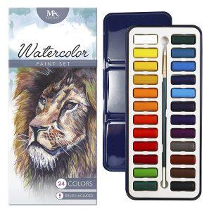 MozArt Supplies Watercolor Paint Set - 24 Vibrant Colors