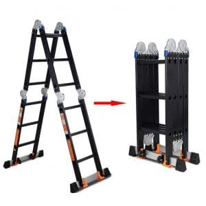 ZAQI Aluminium Telescopicing Ladders, Black Multi-Position Heavy Duty Scaffold Extendable Ladder for Rooftops Attic, 150kg (Color - 4mm, Size - Straight Ladder 3.6m)