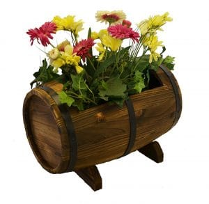 PierSurplus Wooden Whiskey Barrel Planter