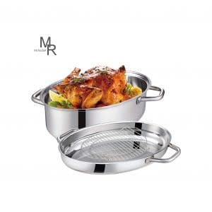 Mr Rudolf 15 Inches Oval Roaster with Rack and Lid