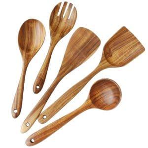 Spoon Colander UniHom Wooden Utensils Teak Cooking Utensils Set Nonstick Pan Kitchen Utensils Wooden Spatula Salad Fork for Cooking Set of 6