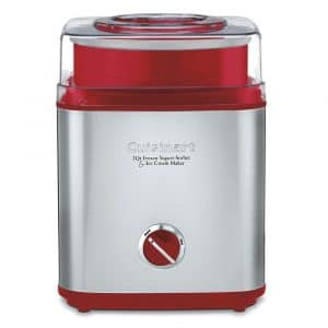 Cuisinart ICE-30R Ice Cream Maker, Brushed Metal/Red