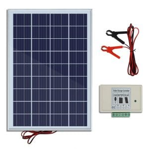ECO-WORTHY 20W 12V IP65 Solar Panel Kit- 20W Off Grid Polycrystalline Solar Panel & Aluminum Battery Clips & 3A Charge Controller