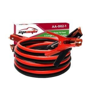 EPAuto 6 Gauge Booster Jumper Cables – Comes with a Travel Bag & Safety Gloves