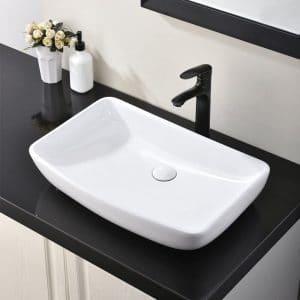 HOTIS HOME White Round Above Counter Porcelain Bathroom Sink