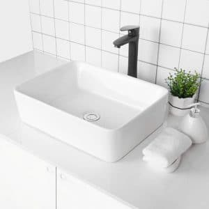 Logmey Modern Rectangle Ceramic Bathroom Vessel Sink