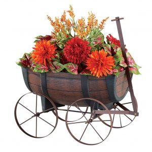 Collections Etc Faux Wood Barrel Wagon Planters