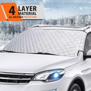 Black L Grebest Car Windshield Cover External Decoration Car Cover Car SUV Magnetic Front Windshield Sun Snow Ice Frost Shade Cover Protector