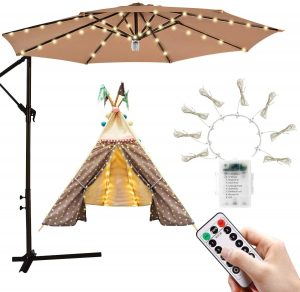Camping Tents and Other Outdoor Use Hallomall Patio Umbrella Light 28 LED Rechargeable Umbrella Pole Lamp with 2 Dimming Level for Patio Umbrellas