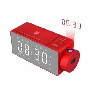 Htterino Projection Alarm Clock Bluetooth Speaker
