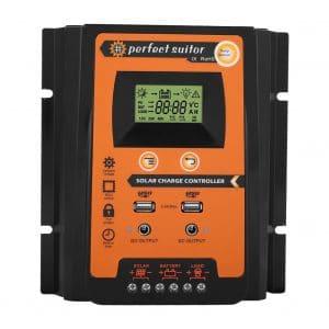 MPPT Solar Charger Controller- Solar Panel Battery Regulator LCD Display with Dual USB Port Display 12V:24V Safe Protection(50A)