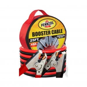 Pennzoil Jumper Cables – 4 Gauge, 25 Foot Jump Start Cable with Travel Bag