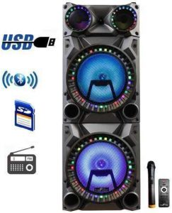 beFree Sound Double Subwoofer Portable Party Speaker