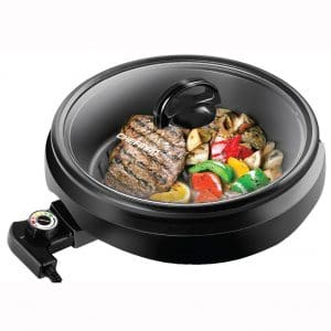 Chefman 3-IN-1 Electric Indoor Grill Pot & Skillet, Versatile - Slow Cook, Steam, Simmer, Stir Fry and Serve, Non Stick Electric Griddle Pan
