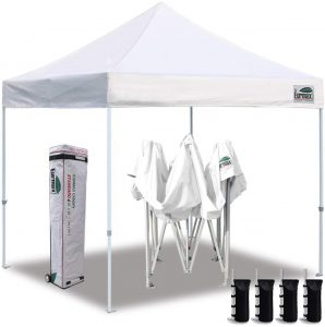 Eurmax 10'x10' Ez Pop Up Canopy Tent Commercial Instant Canopies with Heavy Duty Roller Bag,Bonus 4 Canopy Sand Bags