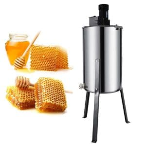Happybuy Electric Honey Extractor Stainless Steel Honeycomb Drum Spinner Beekeeping Equipment with Strainer