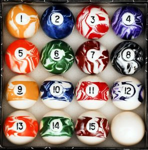 Iszy Billiards Pool Table Marble/Swirl Style Billiard Ball Set