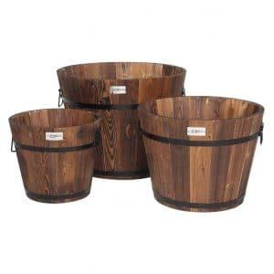 VINGLI 3 pcs Wooden Planter Barrel Set