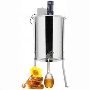VINGLI New Electric 4 Frame Honey Extractor Separator,Food Grade Stainless Steel Honeycomb Spinner Drum with Adjustable Height Stands,Beekeeping Pro Extraction Apiary Centrifuge Equipment