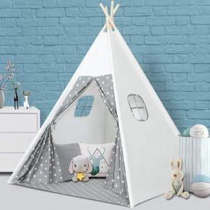 Wilfwolfer Kids Teepee Play Tent Two Windows with Carrying Case