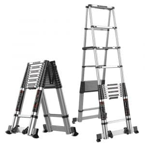 ZHIRONG Herringbone Ladder, Aluminum Alloy Multi-Function Extension Ladder, Engineering Ladder, Portable Household Ladder, Indoor Foldable Staircase Easy Extension and Retraction