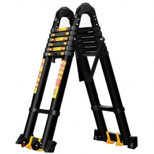 Purpose Black Tall Extension Ladders for Industrial Household Daily or Emergency Use, 3.4m:5.8m:7.4m, Load 150kg (Size - 2.1m+2.1m=4.2m Straight Ladder)