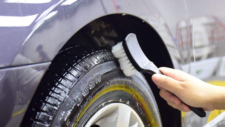 "Car Wheel Tire Rim Fender Wash Detailing Stiff Bristle Brush 9/"""