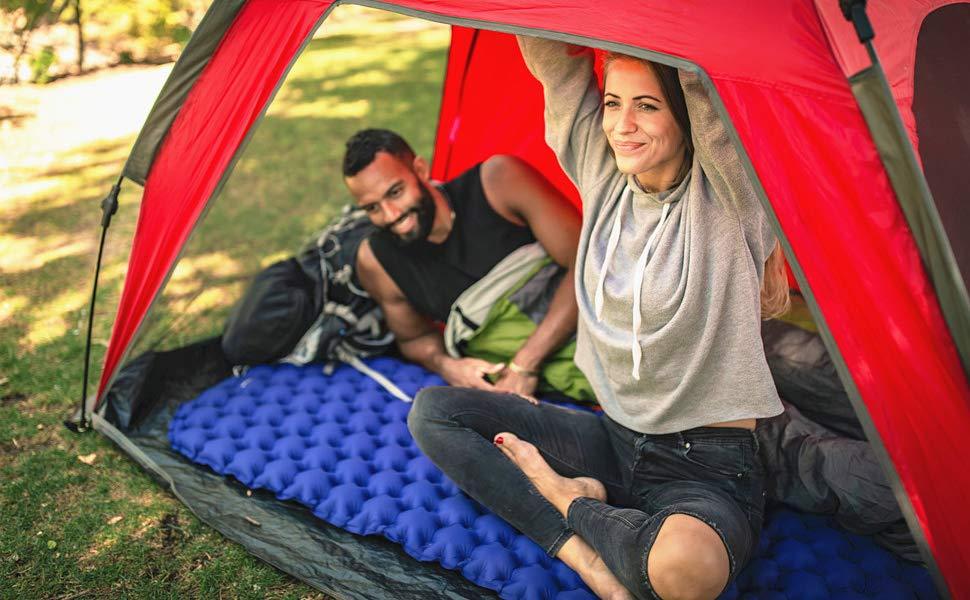 ALPIDEX Inflatable Sleeping Pillow Camping Mat Ultralight Sleeping Single Pad Backpacking Trekking Beach Compact Air Matress