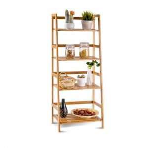 COSTWAY Bamboo Ladder Shelf