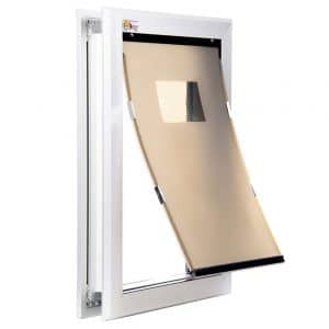 Extreme Performance Locking Rugged Aluminum Dog Doors for Exterior Doors - 2019 Design with Single or Dual Flap Options in 4 Sizes