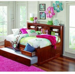 FURNITURE4YOU Merlot Full Captain Bookcase Daybed with Trundle